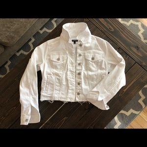 White Express crop jean jacket